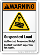 Suspended Load, Authorized Personnel Only ANSI Warning Sign