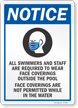 Swimmers Required To Wear Face Coverings Outside Pool Sign