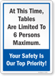 Tables Are Limited To 6 Persons Maximum Sign