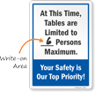 Tables Are Limited Write On Number Of Maximum Persons Sign