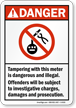 ANSI Danger Stop Theft of Electricity Label