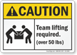 Team Lifting Required Over 50 Lbs ANSI Caution Sign