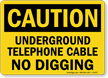 Underground Telephone Cable No Digging Sign