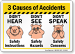 Causes Of Accidents Safety Reminder Sign