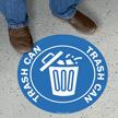 Trash Can, Circle Floor Sign