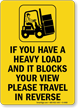 If Heavy Load Travel In Reverse Forklift Sign