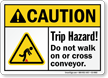 Trip Hazard Do Not Walk On Conveyor Sign