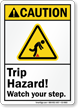 Trip Hazard Watch Your Step Sign