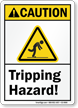 Tripping Hazard Caution Sign