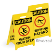 Caution Reversible Fold-Ups® Floor Watch Your Step Sign