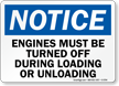 OSHA Notice Turn off Engines Sign