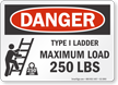 Type I Ladder Maximum Load 250 Lbs Sign