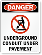 Danger Underground Conduit - Danger Sign