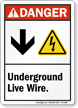 Underground Live Wire Down Arrow Electric Shock Symbol Sign