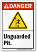Unguarded Pit ANSI Danger Sign With Graphic