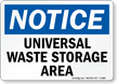 Universal Waste Storage Area Notice Sign