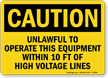 Caution Unlawful Equipment High Voltage Sign