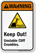 Keep Out! Unstable Cliff Crumbles Sign