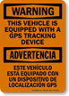 Vehicle Equipped with GPS Tracking Device Sign
