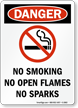 Danger No Smoking No Open Flames Sign