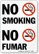 No Smoking / No Fumar Bilingual Sign