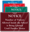 Visitors Allowed Inside School Is Being Limited Showcase Sign