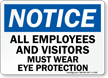 Notice All Must Wear Eye Protection Sign
