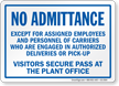 Visitors Secure Pass At The Plant Office Sign