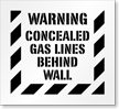 Warning Concealed Gas Lines Behind Wall Floor Stencil