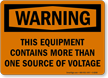 Warning Equipment Contains Voltage Sign