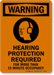 Hearing Protection Required For 15 Minute Occupancy Sign