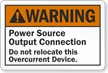 Warning Power Source Output Connection Label