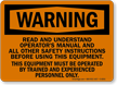 Warning Read Operators Manual Sign