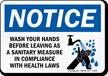 Wash Hands Notice Sign
