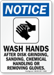 Wash Hands After Disk Grinding Sign