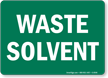 Waste Solvent (white on green)