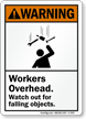 ANSI Warning Falling Debris Sign