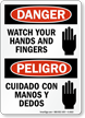 Bilingual Danger/Peligro Watch Your Hands Sign