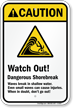 Beach Hazard Caution [ANSI] Sign