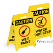 Caution Wet Paint/Watch Your Step Reversible Floor Sign