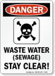 Danger Waste Water Sewage Stay Clear Sign