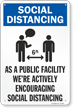 We Are Actively Encouraging Social Distancing Sign