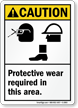 Caution (ANSI) Wear Protective Equipment Sign