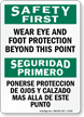 Wear Eye And Foot Protection Bilingual Sign