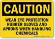 Caution Protection Rubber Gloves Aprons Sign