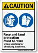 Wear Face and Hand Protection Caution Sign