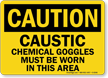 Caution Caustic Chemical Goggles Worn Sign