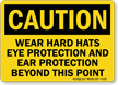 Caution Wear Hard Hats Eye Protection Sign