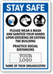 Wear Mask And Sanitize Add Logo And Name Of Organization Sign