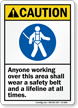 Anyone Working Over Area Wear Safety Belt Lifeline Sign